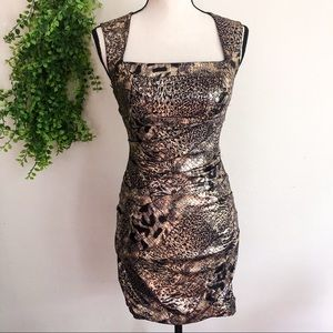 Hailey Logan Adrianna Papell Gold Animal Dress S